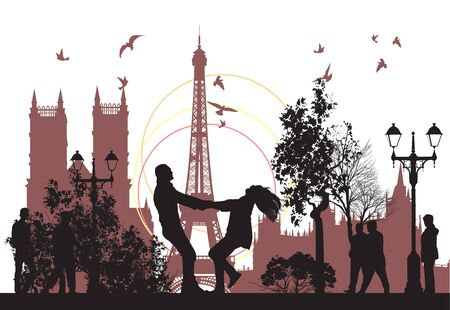couple having fun: couple went on honeymoon in to Paris Illustration