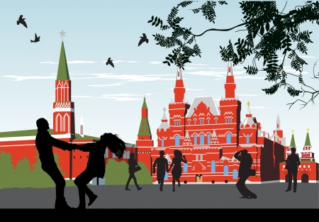 couples on the Red Square Stock Vector - 13920701