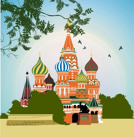 kremlin: Domes of the famous Head of St. Basils Cathedral on Red square
