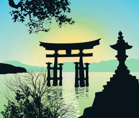 Evening Landscape in Japan with Tori-gate Vector