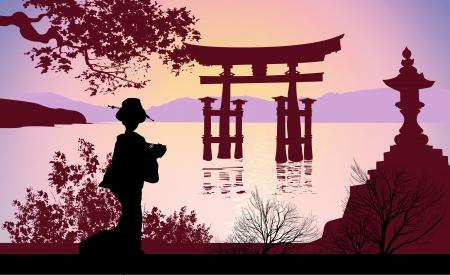 geisha kimono: Geisha and Mount Fuji Illustration