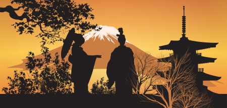 geisha kimono: Geisha and Pagoda Illustration