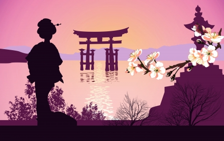 japanese kimono: Geisha mountains in the background and the Japanese gate Illustration