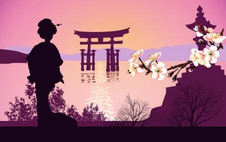 torii: Monta�as de geisha en el fondo y la puerta japonesa