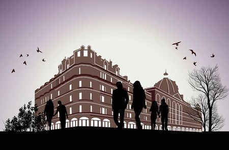 parliament: German Parliament building with business men and women Illustration