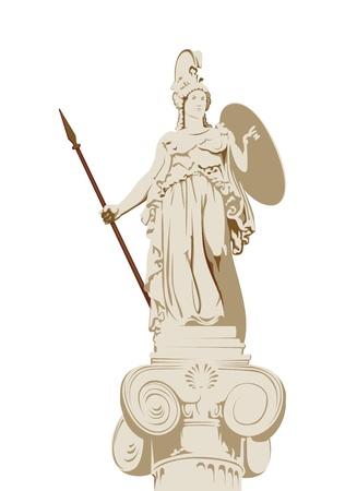 pilastri: statua della dea greca della saggezza Athena Vettoriali