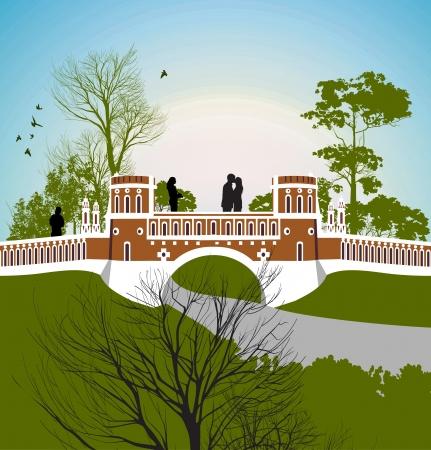 tsaritsino: guy kisses the girl on the bridge Illustration