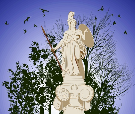 historical statue of Athena on the blu sky background Vector