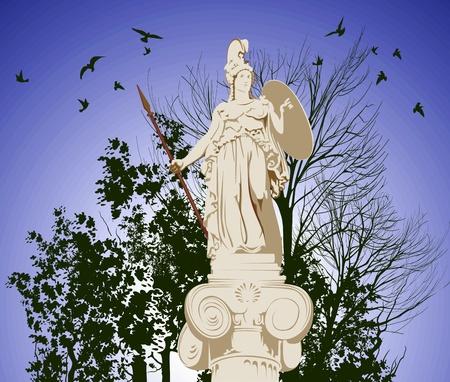 athena: historical statue of Athena on the blu sky background
