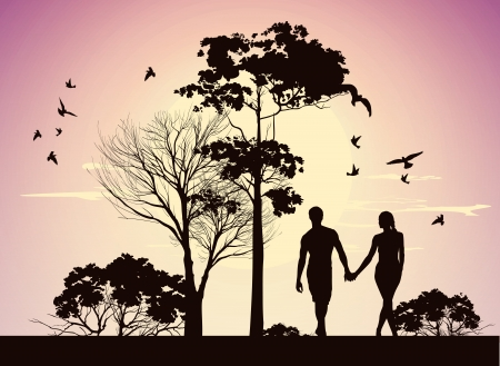 husband and wife holding hands and walking in the park Vector