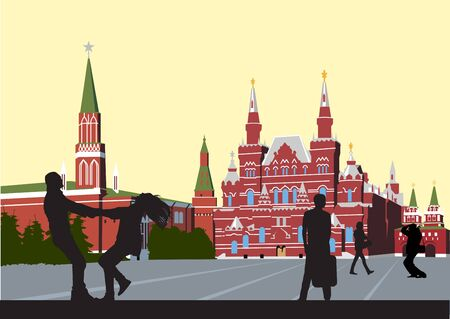 kremlin: husband and wife on the Red Square circling hand in hand Illustration