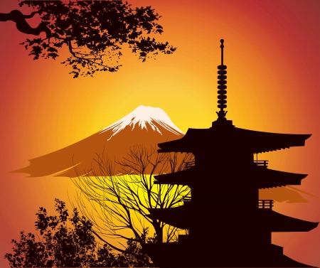 Image of Japanese landmarks Vector