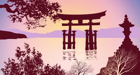 Japanese gates mountains and trees Vector