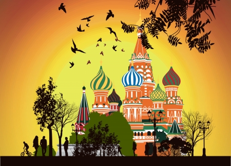 lot of people walking on the Red Square at sunset Stock Vector - 13922198
