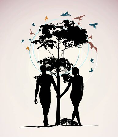 man and woman holding hands on the background of a tree with birds Stock Vector - 13920677
