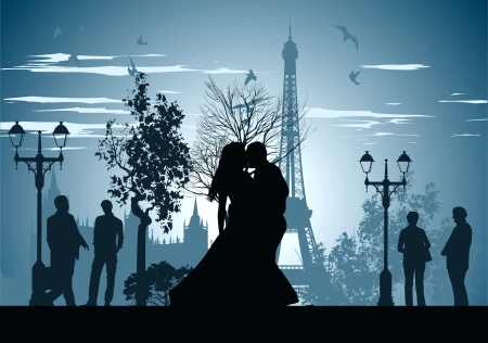 romantic getaway: man and woman kissing on a street in Paris Illustration