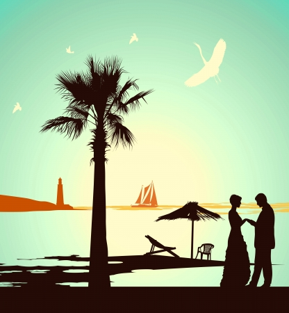 Man does offer the woman on the bank of tropical island Stock Vector - 13919735