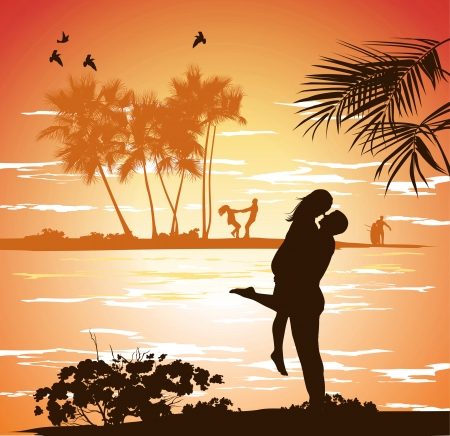 man embraces woman on the shore of the beach at sunset Vector