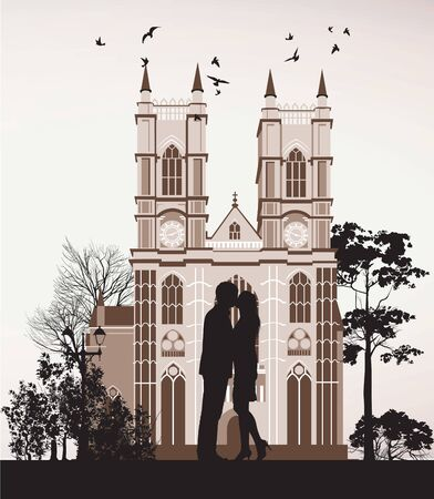 man kissing woman near the Catholic Cathedral Stock Vector - 13922052
