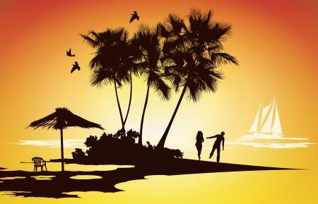 verheiratetes Paar auf Hochzeitsreise Entspannung auf einer tropischen Insel