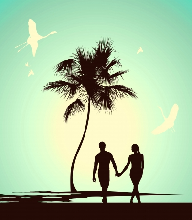 romantic getaway: married couple walking on tropical island