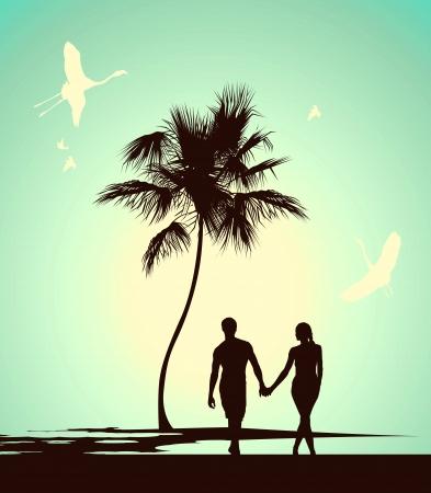 pareja de esposos: pareja caminando en la isla tropical Vectores