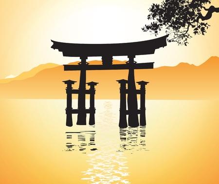 japanese temple: Miyajima gate at Hiroshima