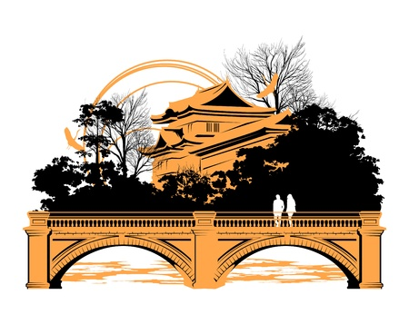 People are standing on a bridge near the Chinese houses Stock Vector - 13921955