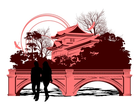 people go by the bridge near the Chinese houses Vector
