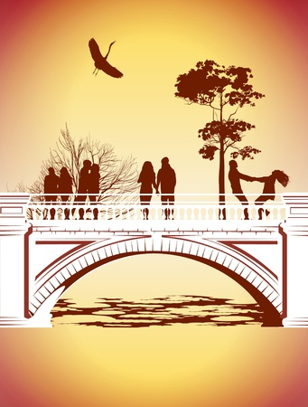 People having fun on the bridge in the park Vector