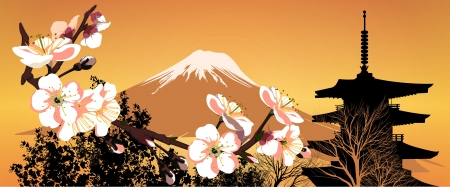 Postcard Sakura Japanese mountains and houses Illustration