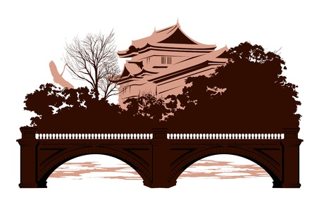 Postcard with Japanese houses and a bridge Stock Vector - 13921351