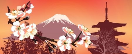 japanese flag: Sakura mountains and Japanese houses