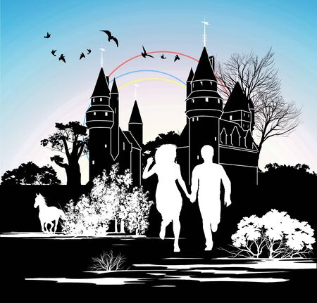 black wedding couple: silhouette running loving couple in front of the castle Illustration