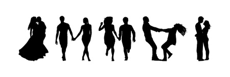 silhouettes of couples in love Vector