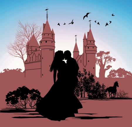 outdoor wedding: silhouettes of the bride and groom on the backdrop of an ancient castle