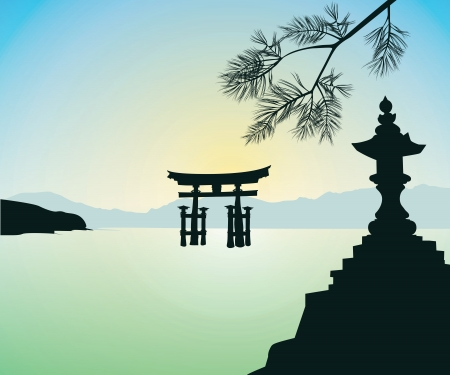 The Floating Otorii gate at Miyajima Illustration