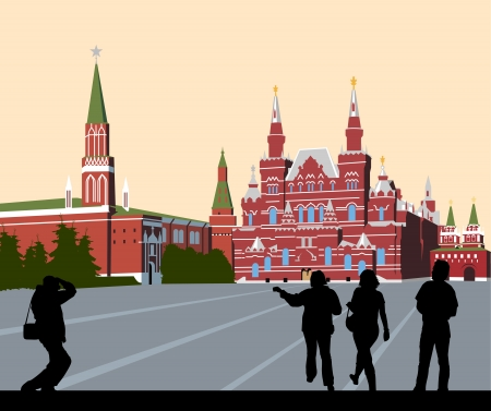Tourists walk on Red Square Vector