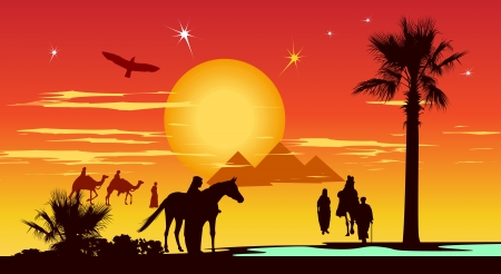 whit: Arabian people walking whit camels in the desert on the pyramids and sunrise background