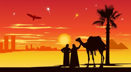 birds desert: Arabian people stand whit camel on the city buildings and pyramids background