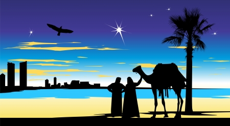 Arabian people stand at night whit camel near the palm-tree Vector