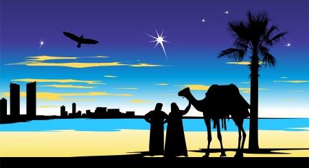 birds desert: Arabian people stand at night whit camel near the palm-tree Illustration