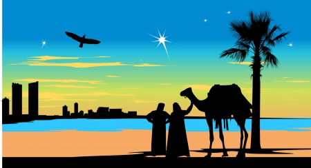 Arabian people stand whit camel near the palm-tree on the city buildings background Vector