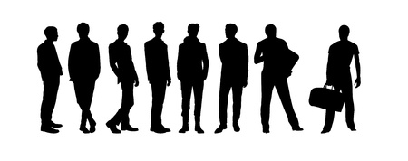 Vector of men silhouettes on white background Stock Vector - 13920224