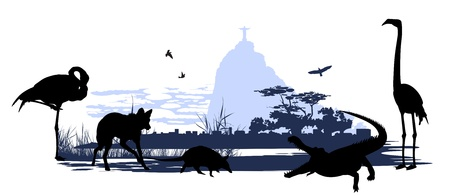 flamingos: Wild animals and birds in Brazil on the statue of Christ background Illustration