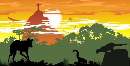 Wild animals of Brazilian woods on the background of Jesus's statue in  Stock Vector - 13921468