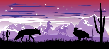 Wild horses and coyote in the steppes of Argentina in the twilight Stock Vector - 13920673