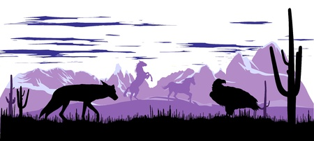 coyote: Wild horses, coyote and eagle in the steppes of Argentina at dawn Illustration