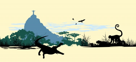Wild jungle animals on the statue of Jesus background  in Rio Vector