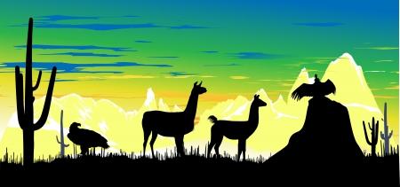 llama: Wild llama, eagle and vulture against the backdrop of a colorful sky Illustration